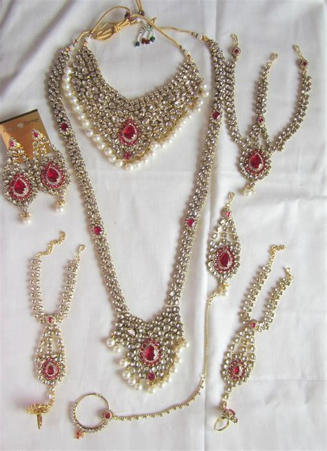 bridal dulhan wedding necklace set rani pink white pearl