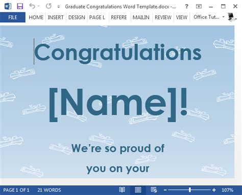 free graduation congratulations card template for word