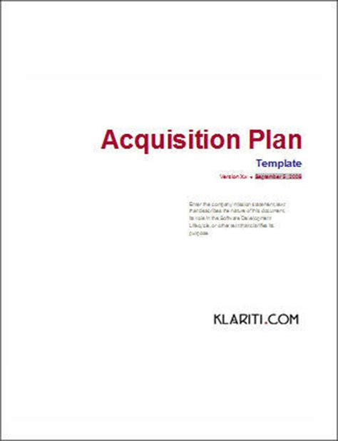acquisition template acquisition plan template ms word excel
