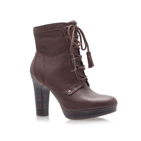 high heel ugg boots ugg shezbie high heel ankle boots in brown lyst