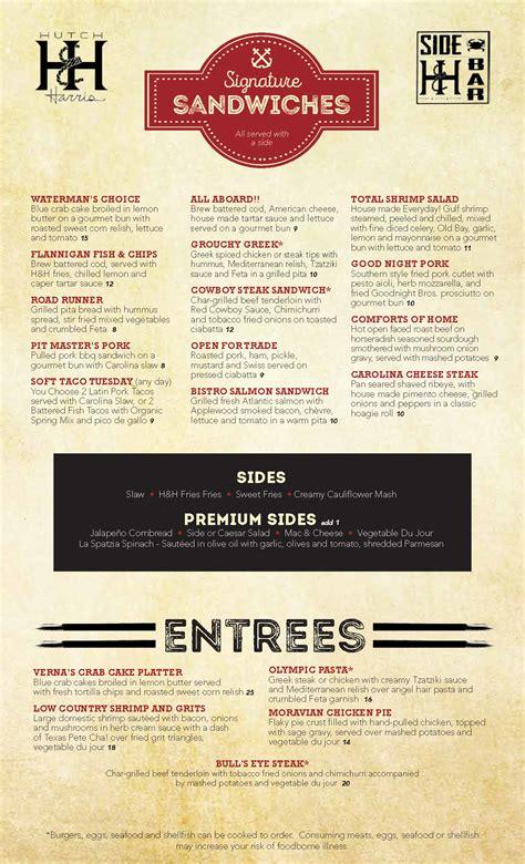Hutch And Harris Menu dinner menu hutch harris sidebar