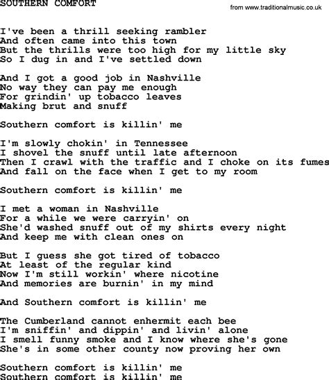 music from southern comfort johnny cash song southern comfort lyrics