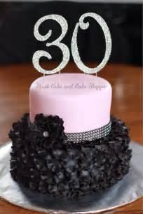 black and pink 30th birthday cake ruffled petals rhinestone ribbon flower nina s cake and