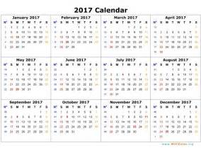 Calendar 2017 Pdf Printable 2017 Calendar Pdf Yearly Calendar Printable