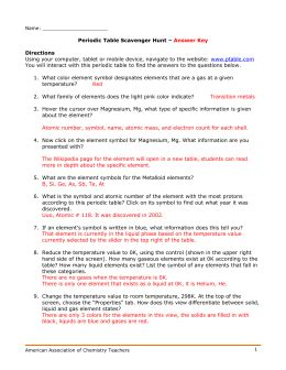periodic table scavenger hunt worksheet answer key scavenger hunt doc