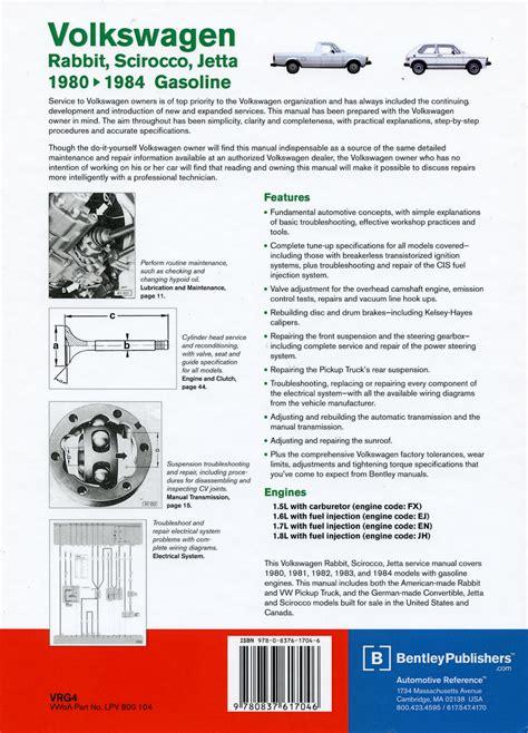 book repair manual 2005 volkswagen jetta engine control vw rabbit scirocco jetta service manual 1980 1984 bentley vrg4
