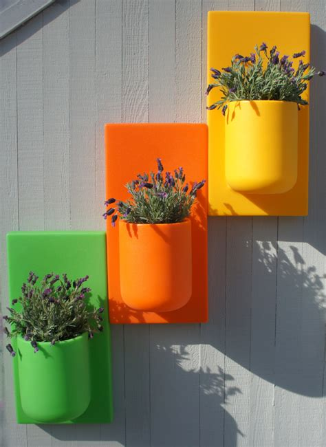 self watering wall planters colorful self watering vertical garden walls urban gardens