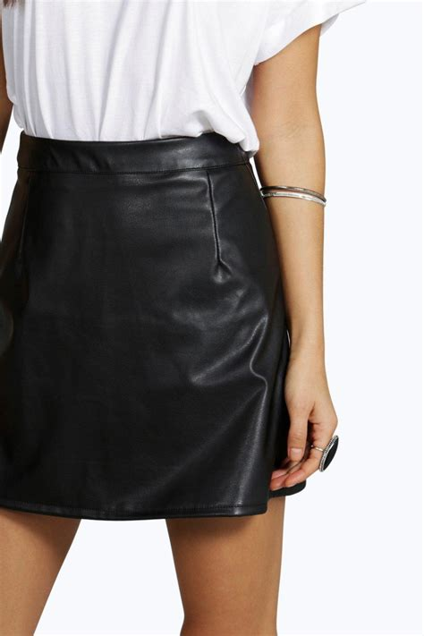 faux leather a line mini skirt