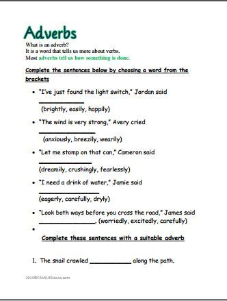 adverbs ly worksheet 23 best images about adverb worksheets on what s the reading and student