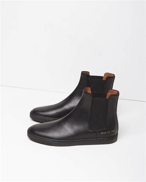 by common projects boots common projects leather chelsea boots in black for lyst