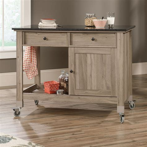 mobile island for kitchen sauder mobile kitchen island salt oak lowe s canada