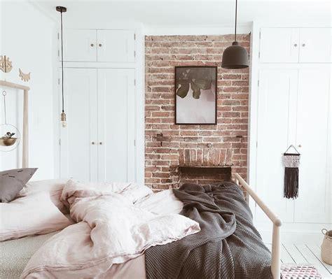 ikea gjora bed blush and grey bedroom with exposed brick wall ikea gjora