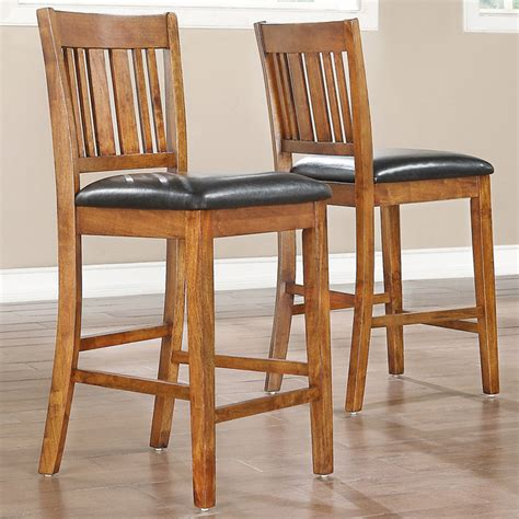 tribecca home devlin mission style oak 24 inch barstools