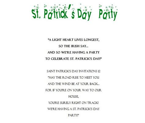 S Day Invitation Template St Patrick S Day Free Suggested Wording By Holiday Geographics