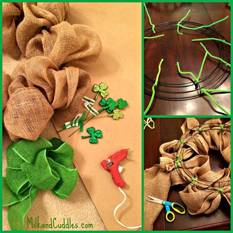 how to make a wreath with burlap st patrick s day burlap wreath everyday best