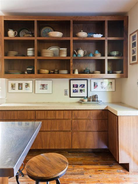 open style kitchen cabinets tips for open shelving in the kitchen hgtv