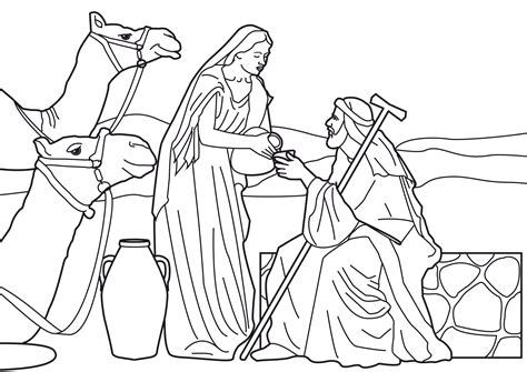 free coloring pages of isaac and rebekah