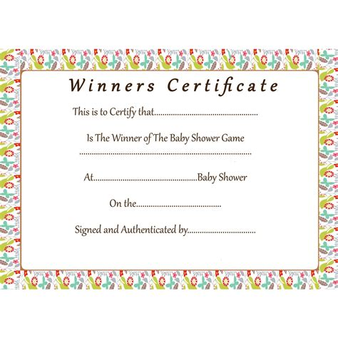 floral baby shower games winner certificate baby shower host