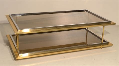 vintage glass coffee table vintage glass brass coffee table 1970s for sale