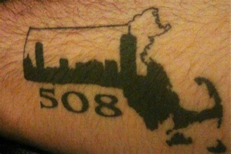 cape cod tattoo mass state and area code with boston skyline