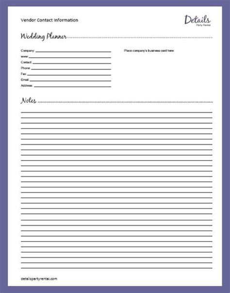 Details Party Rental Planning Templates Sheets Wedding Planner Template