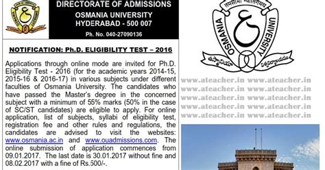 Ou Distance Mba Notification 2017 by Osmania O U Phd Eligibility Test Notifications