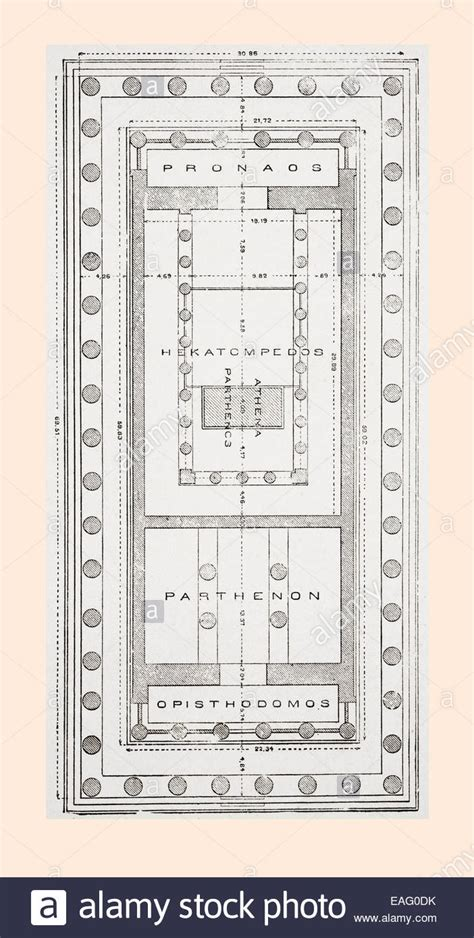 floor plan of the parthenon athenian acropolis greece