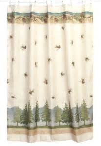 pine cone lodge shower curtain cabin decor fabric shower