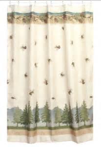 Pine cone lodge shower curtain cabin decor fabric shower curtain