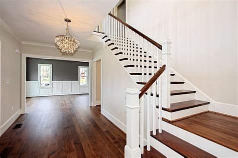 hickory floors with white cabinets custom dark stained hickory flooring traditional entry