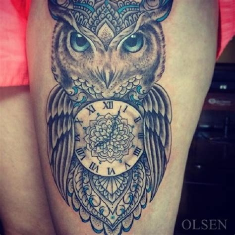 owl clock tattoo owl and clock venice designs