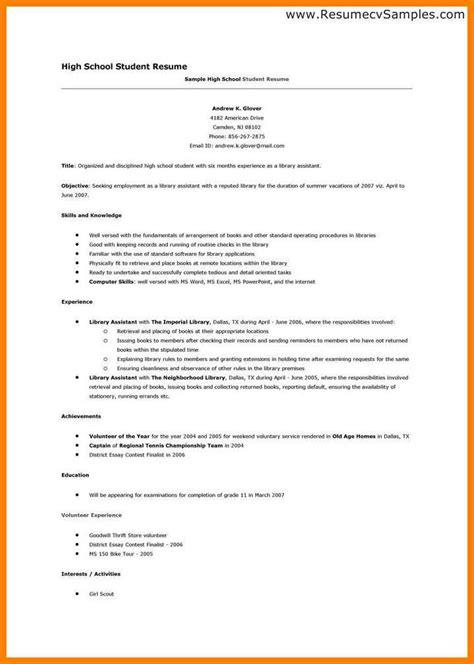 high school cv 6 high school student cv template applicationleter