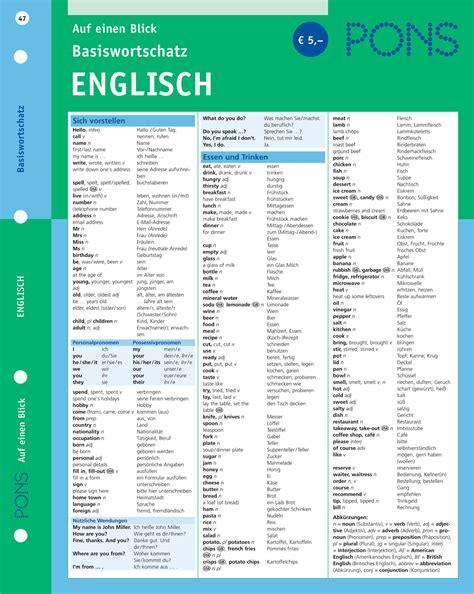 Kundenservice Auf Englisch Schreiben Pons Basiswortschatz Englisch Auf Einen Blick Pons