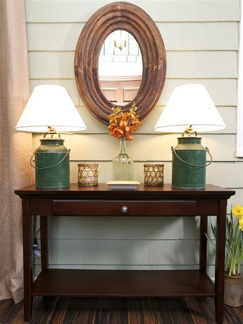entry room table vintage foyer with rustic milk can ls hgtv
