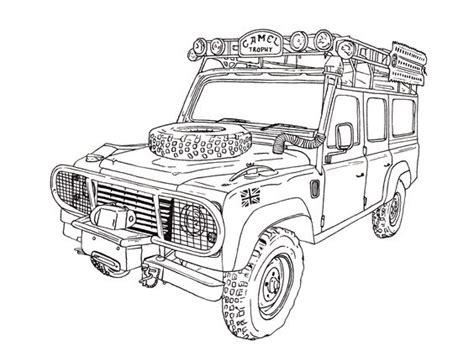 Camel Trophy Land Rover Defender 110 Ink Drawing Cuatro