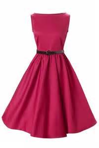 Hepburn style swing party rockabilly evening raspberry vintage dress