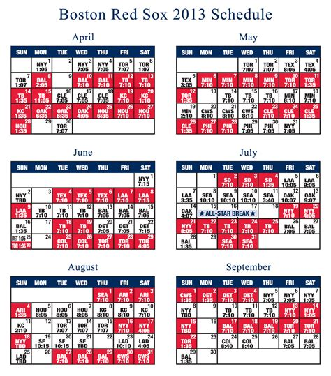red sox printable schedule boston red sox 2013 schedule boston pro sports