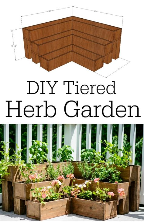 diy herb garden ideas diy tiered herb garden tutorial bigdiyideas