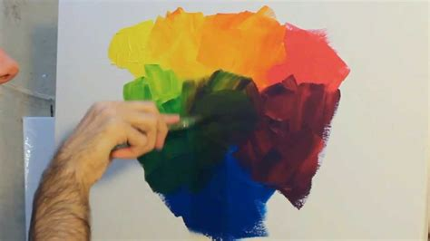 how to paint using and mixing primary colours with acrylic paint on canvas