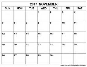 Calendar November 2017 Printable Free November Calendar Printable Printable Calendar 2017