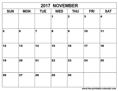 printable weekly calendar for november 2017 november 2017 calendar printable
