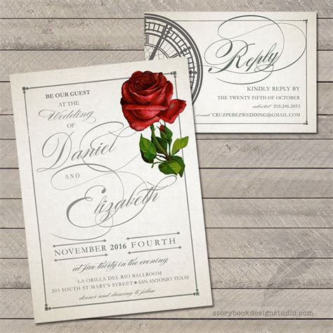 And The Beast Wedding Invitations