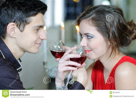 romantic couple drinking wine love valentines day stock photography image 36745072