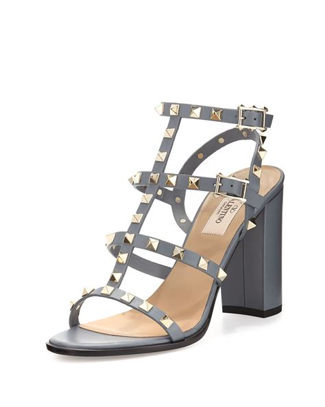 sandal valentino valentino rockstud leather 90mm city sandal in gray lyst