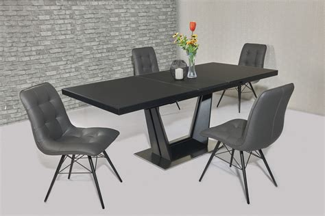 Black Dining Table Grey Chairs Matt Black Glass Dining Table And 8 Grey Chairs Homegenies
