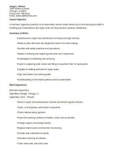 Mechanic Apprentice Sle Resume by Sle Mechanic Resume 9 Exles In Word Pdf