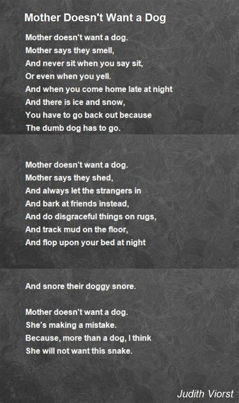 What Is A She Shed by Mother Doesn T Want A Dog Poem By Judith Viorst Poem Hunter