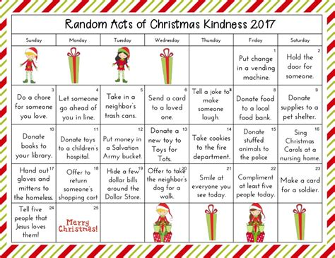 printable acts of kindness advent calendar 25 random acts of kindness christmas calendar kindness
