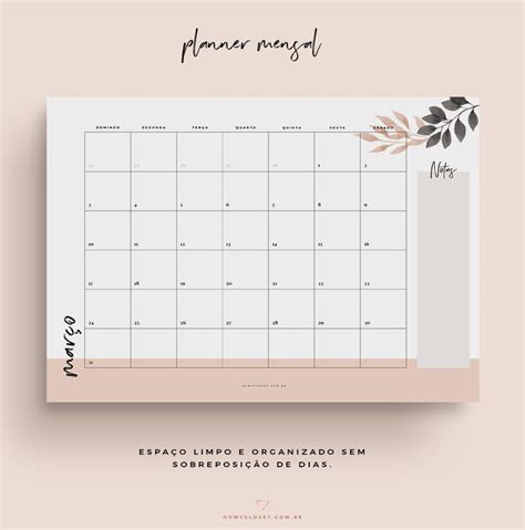 planner mensal  minimalista   closet planner calendarios planejamento