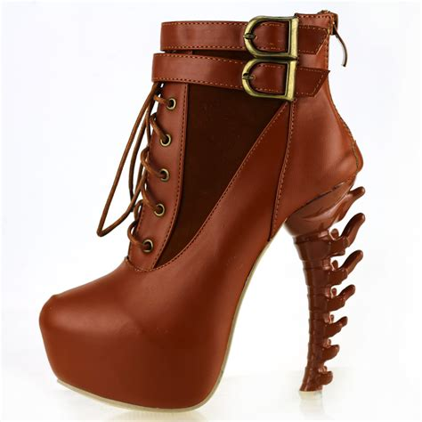 zip lace up buckle high top bone high heel platform